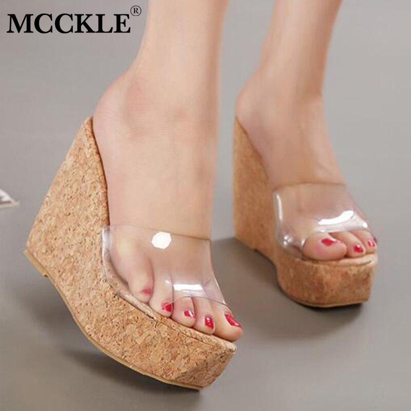 MCCKLE/Для женщин Летняя мода плоская платформа клин Тапочки женские прозрачные Сабо обувь на высоком каблуке дамские уличные шлепанцы