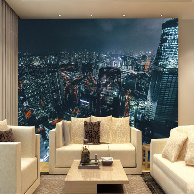 beibehang Custom Photo Photo Mural HD Atmosphere Beautiful Night Skyscape Skyscraper wallpaper for walls 3 d papel de parede
