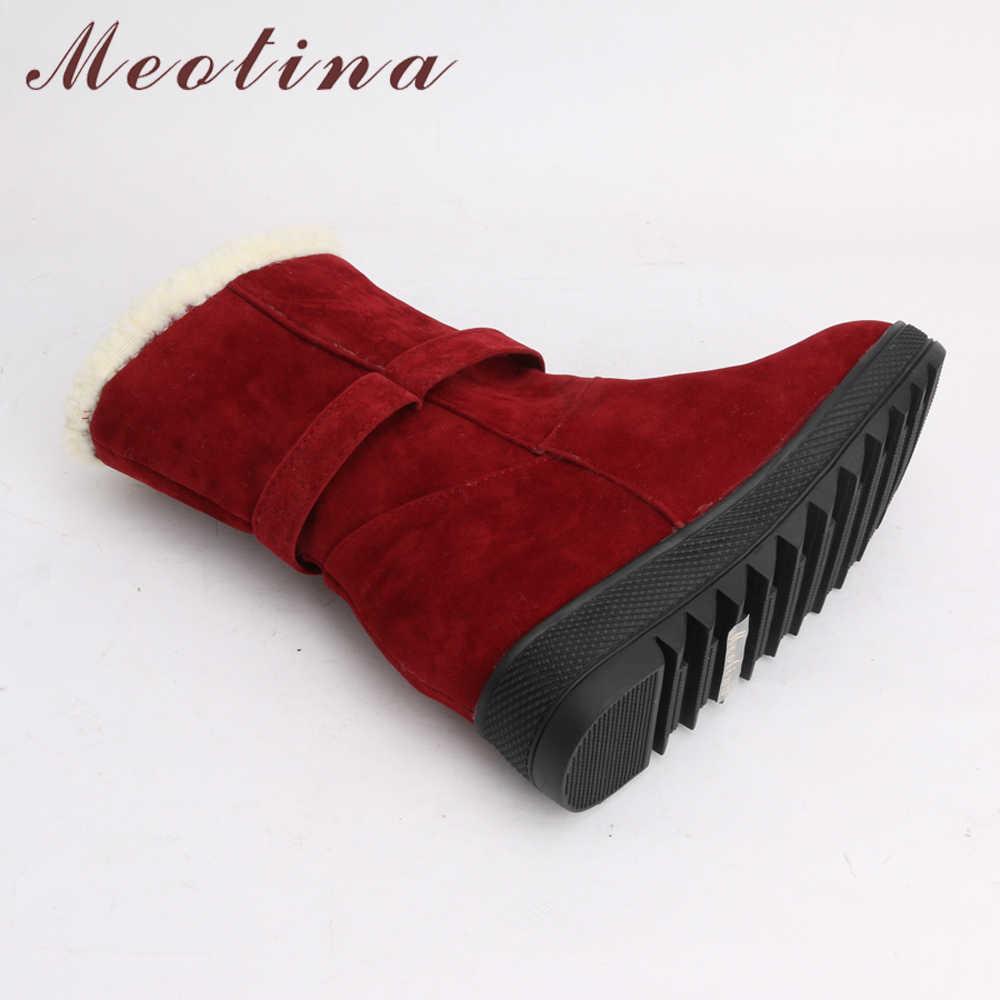 Meotina Kış Kar Botları Kadın Yay Orta Buzağı Çizmeler Peluş sıcak ayakkabı Platformu Kama Topuk Çizmeler Bayan Ayakkabıları Kırmızı Artı Boyutu 42 43