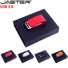 JASTER USB 3.0 hot selling Fashion creative 4-color leather USB+BOX real capacity 4GB 8GB 16GB 32GB 64GB flash drive