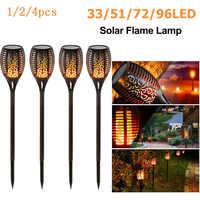33LED étanche scintillement flamme solaire torche lumière jardin lampe extérieur paysage décoration jardin pelouse lumière