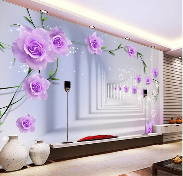 Buy elegant photo wallpaper custom 3d wall murals purple flowers wallpaper kids - Flower wall designs for a bedroom ...