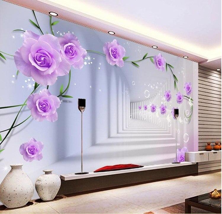 Elegante Fototapete Benutzerdefinierte 3D Wandbilder Lila Blumen ...