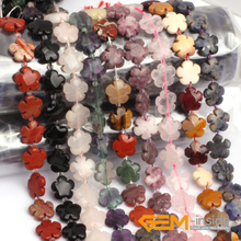 15mm Natural Stone Flower Beads For Jewelry Making Strand 15