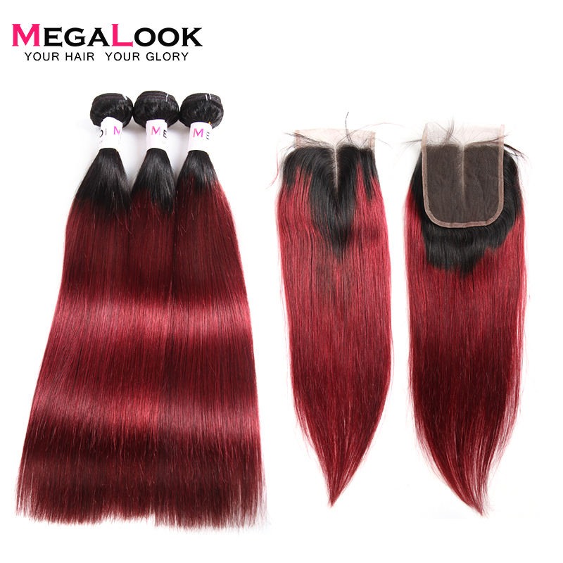 Megalook 1B 99j Bundles with Closure 3pcs Brazilian Remy Straight Ombre Hair Bundles with Closure