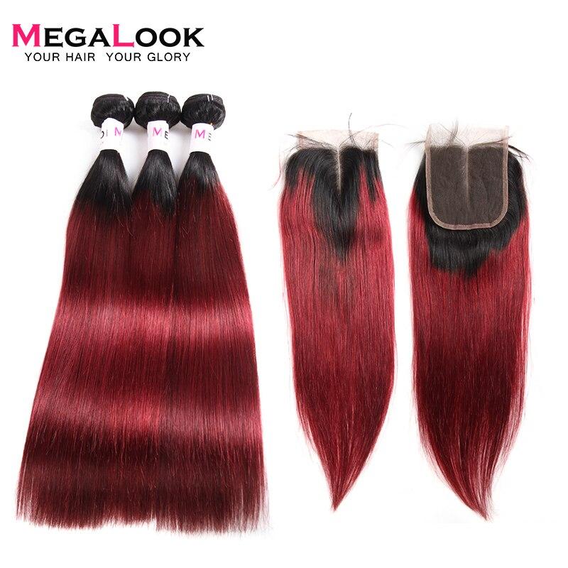 Megalook 1B/99j Bundles avec Fermeture 3 pcs Péruvienne Remy Droite Ombre Cheveux Bundles avec Fermeture