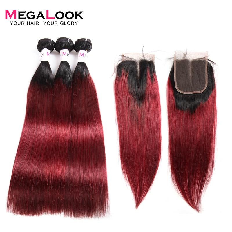 Megalook 1B/99j Bundles With Closure 3pcs Brazilian Remy Straight Ombre Hair Bundles With Closure