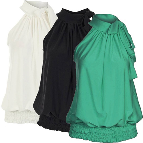 Women's Sexy Casual Pleated Halter Neck Elastic Hem Sleeveless Vest   Tops   09WG
