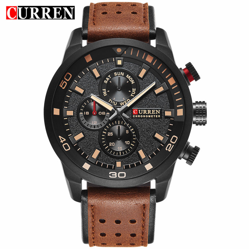 Relojes 2017 Curren Watches Brand Luxury Leather Black Quartz Man Watch Men Casual Sport Clock Male Wristwatch Relogio Masculino relogio masculino curren watch men brand luxury military quartz wristwatch fashion casual sport male clock leather watches 8284