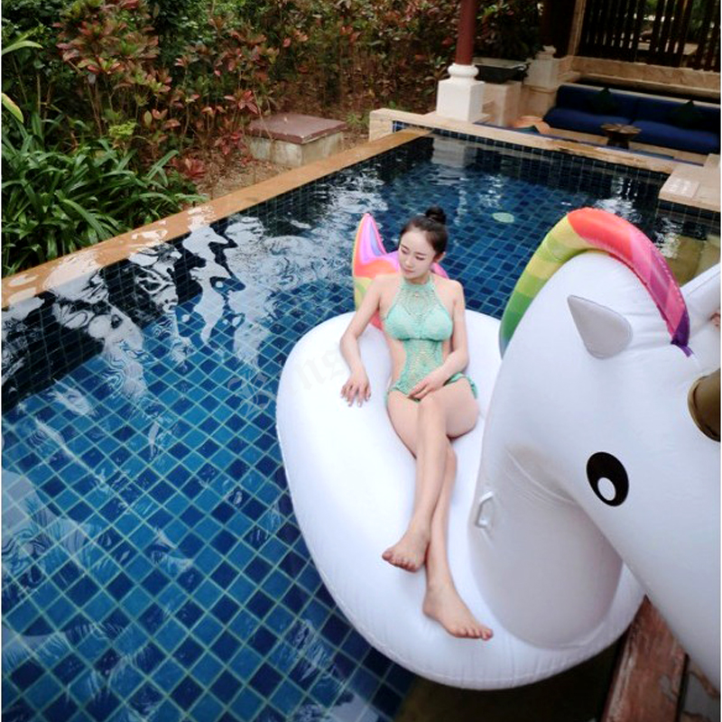 Air Inflatable Unicorn Air Inflatable Pool Toy 2.75*1.40*1.20m Air Mattress Safe Tool Pegasus Water Floats Raft white pegasus giant inflatable rainbow unicorn float swimming water pool floats