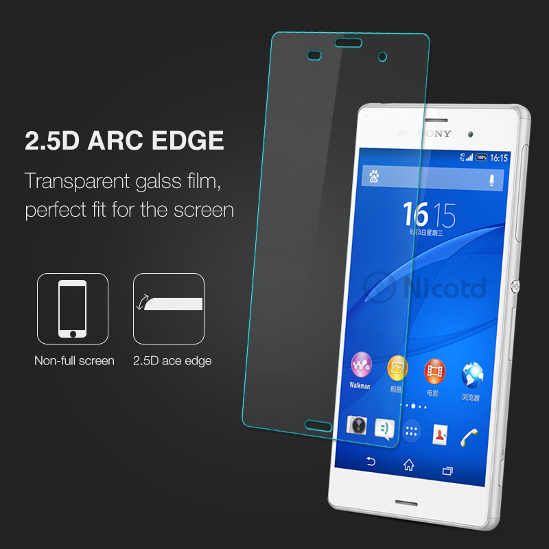 Nicotd Tempered Glass For Sony Xperia Z3 Screen Protector 9H 2.5D Phone On Protective Glass For Xperia Z3 D6633 D6643 glass Film (3)