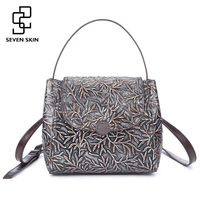 New Women Genuine Leather Handbags With Floral Pattern Women Shoulder Messenger Bags Embossed Flower Small Mini