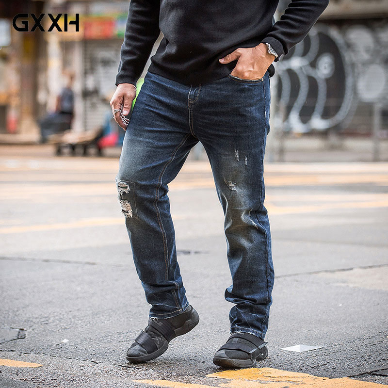GxxH Large size Mens jeans Hole cloth Tide Brand Loose Casual jeans Spring and Autumn Waist Stretch Denim Trousers Size 36-48