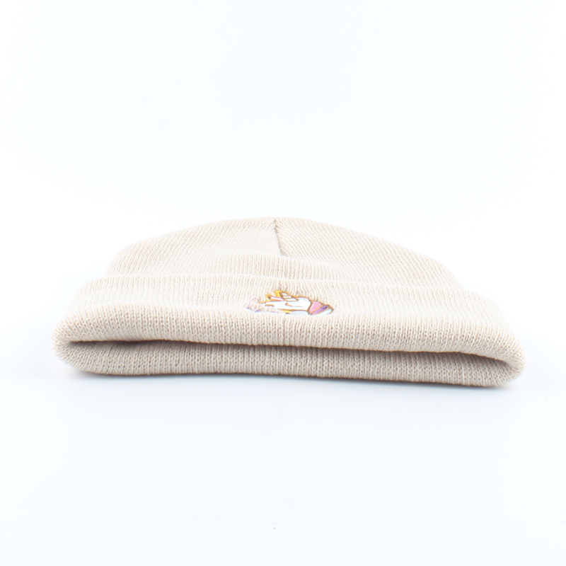 Image 3 - Autumn Women Beanie Winter Knitted Hat Unicorn Embroidery Slouchy Beanies For Ladies Black Skullies Hip Hop Cap-in Women's Skullies & Beanies from Apparel Accessories on AliExpress