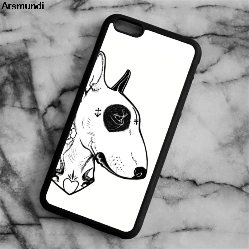 Arsmundi Tattooed Bullterrier Phone Cases for iPhone 4S 5C 5S 6 6S 7 8 Plus X for Samsung S5 6 7 8 Case Soft TPU Rubber Silicone