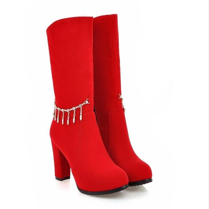 Negro Talón Zapato Invierno De Dulces Hermosas Pulido rojo Nuevo Las Tipo E Otoño Botas Gruesas Alto Del pWYqnwZAqf