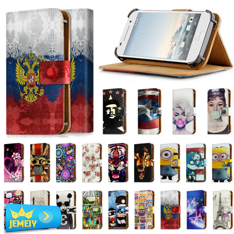 new product 32e81 979ad US $8.99 |Phone Cases For HTC desire 210 / 300/500/ V / X /One Mini / one S  Cover Printed Universal Leather Stand Flip Case Small size-in Wallet Cases  ...