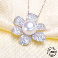 Sterling Silver 925 White Gold Color Semi Mount Pendant Necklace Flowers Christmas Jewel Pearl Gemstone Setting