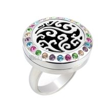 Cloud 20mm Essential Oils Stainless Steel Aromatherapy Aromatherapy Locket Ring with Rhinestones drop shipping(China)
