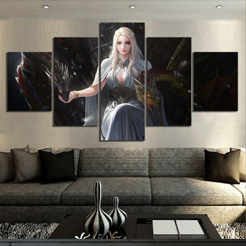 5 Piece HD Cartoon Pictures Game of Thrones Daenerys Targaryen Poster Dragon Picture Fantasy Art Canvas Paintings for Wall Decor