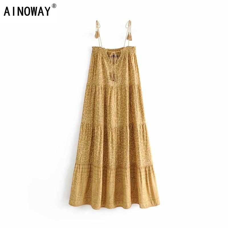 Vintage chic women floral print sleeveless beach long Bohemian Spaghetti Strap tassel Maxi dress Ladies Summer Boho dress