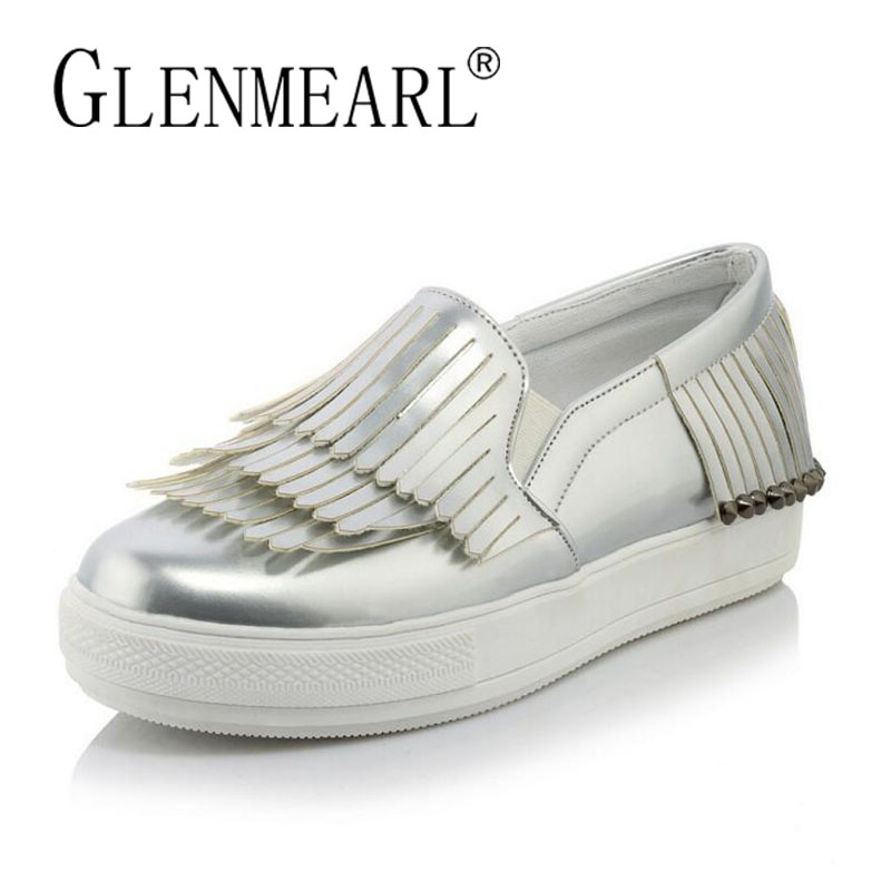 Silver Women Loafers Flats Shoes Woman Brand Thick Heels Platform Single Casual Comfort Female Lazy Shoes Ladies Plus Size 34-44 new hot 2018 fashion brand women cartoon loafers flats shoes woman casual slip on platform shoes ladies comfort shoes size 35 40