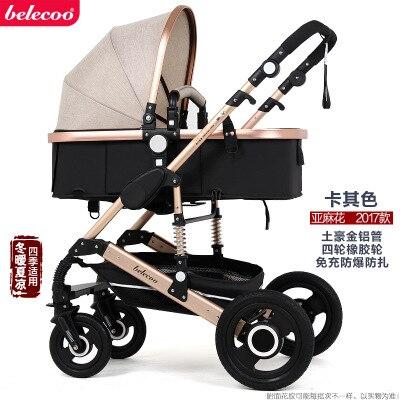 Belecoo Высокая Пейзаж Роскошная детская коляска 0-36 месяцев коляска надувной натуральный каучук колеса детская коляска - Цвет: khaki 2