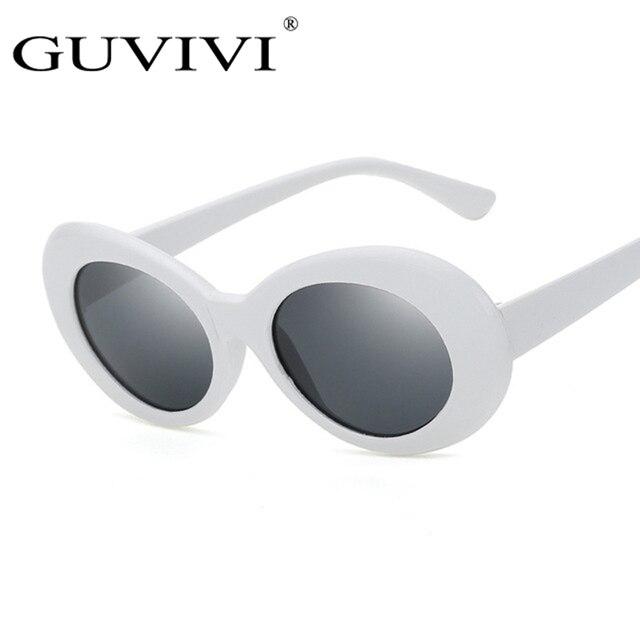 81005a2e52c31 Homens Mulheres Óculos Óculos Ovais de Influência GUVIVI UV400 Kurt Cobain  Espelhado óculos de Sol Da