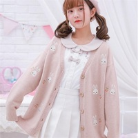 Cute Bunny Pattern Women Knitted Sweater Japanese Mori Girls Spring Preppy Style Long Sleeve Loose Cardigan Sweater Student Tops