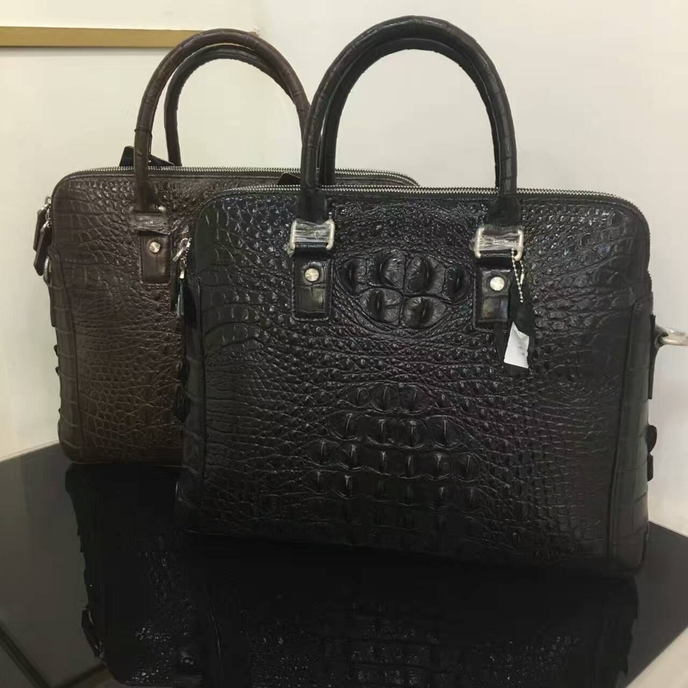 Top Luxury all around alligator skin Men Business bag black discounts ,100% Genuine/Real Crocodile Skin Men Briefcase Laptop Bag inov 8 сумка all terrain kitbag black