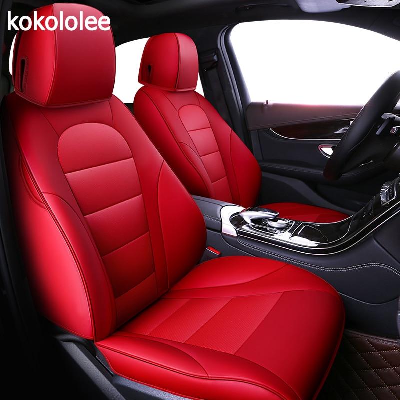 Kokololee custom chr 86 real couro tampa de assento do carro para Toyota corolla auris avensis camry Alphard prius Fortuner land cruiser