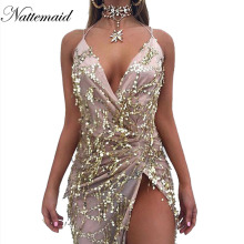 NATTEMAID 2017 Spring Women vintage dress Apparel Sexy sequin tassel beach party Club Wear Maxi long dresses Gold sequined Robe(China)