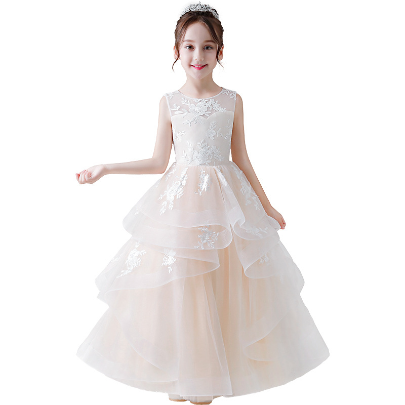 Girl Princess Dress Tutu Back Hollow Out Party Dress Wedding Ball Gown Formal Dresses Outfits