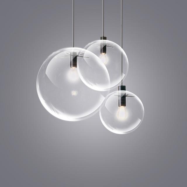 Nordique pendentif lumières globe chrome lampe boule de verre pendentif lampe e27 lustre suspension cuisine luminaire