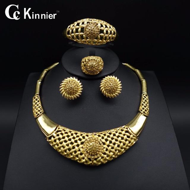 Nueva Alta calidad de la Boda de Nigeria Africano Dubai sistemas de la joyería de Perlas chapado en oro Collar de La Joyería de La Boda de La Manera