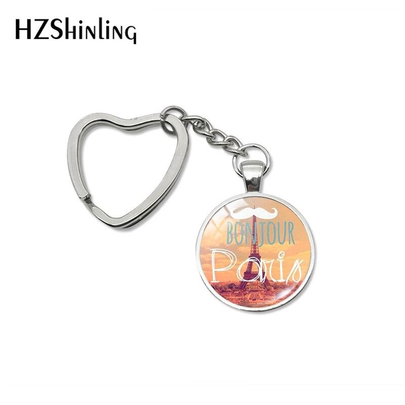 2019 New Fashion Bonjour Paris Heart Keychains Je T'aime Eiffel Tower Glass Cabochon Key Fob For Women Men Gifts