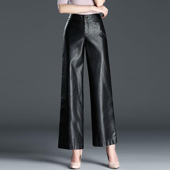 Plus Size High Waist pu Length   wide     leg     pants