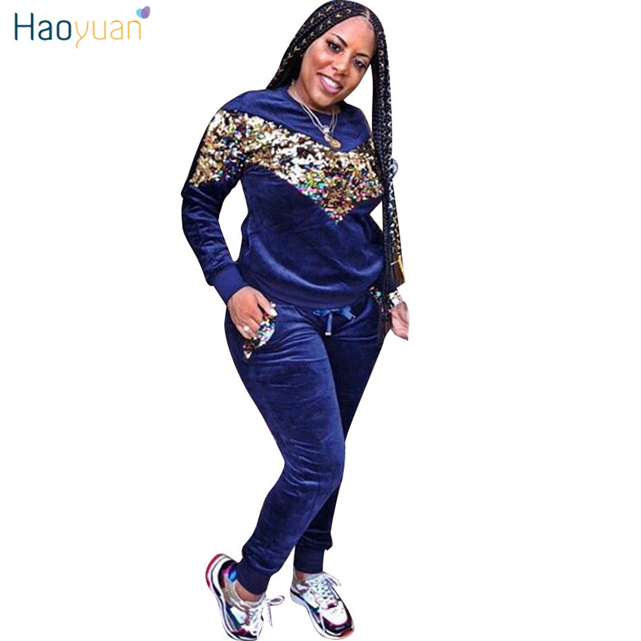 HAOYUAN Thick Velvet Sequin 2 Piece Set Women Tracksuit Hoodies Tops and Pant  Casual Outfits Suits Fall Winter Velour Sweatsuit 06b2d101a60b