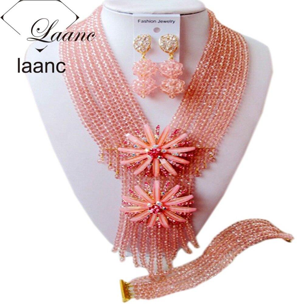 Black Women Jewelry Set Peach Nigerian African Wedding Beads Necklace Bracelet Clip Earrings AL115