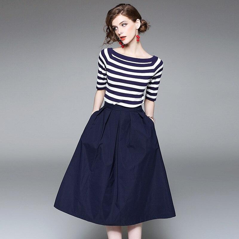 2017 new brand runway women summer 2 piece suits knitting striped slash neck t shirt solid