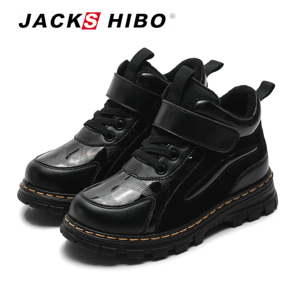 JACKSHIBO Winter Kids Boots Children's Snow Boot Watertight Anti skid Child PU leather Shoes Ankle Boots for kids Warm Snow Shoe