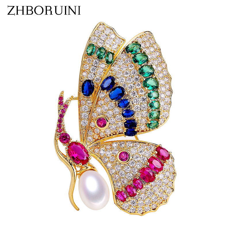 ZHBORUINI 2019 Delicate Natural Freshwater Pearl Brooch Court Style Noble Butterfly Brooch Pearl Jewelry For Women Not Fade GiftZHBORUINI 2019 Delicate Natural Freshwater Pearl Brooch Court Style Noble Butterfly Brooch Pearl Jewelry For Women Not Fade Gift