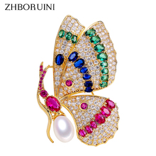 ZHBORUINI 2019 Delicate Natural Freshwater Pearl Brooch Court Style Noble Butterfly Brooch Pearl Jewelry For Women Not Fade Gift delicate faux pearl openwork butterfly hairpin for women