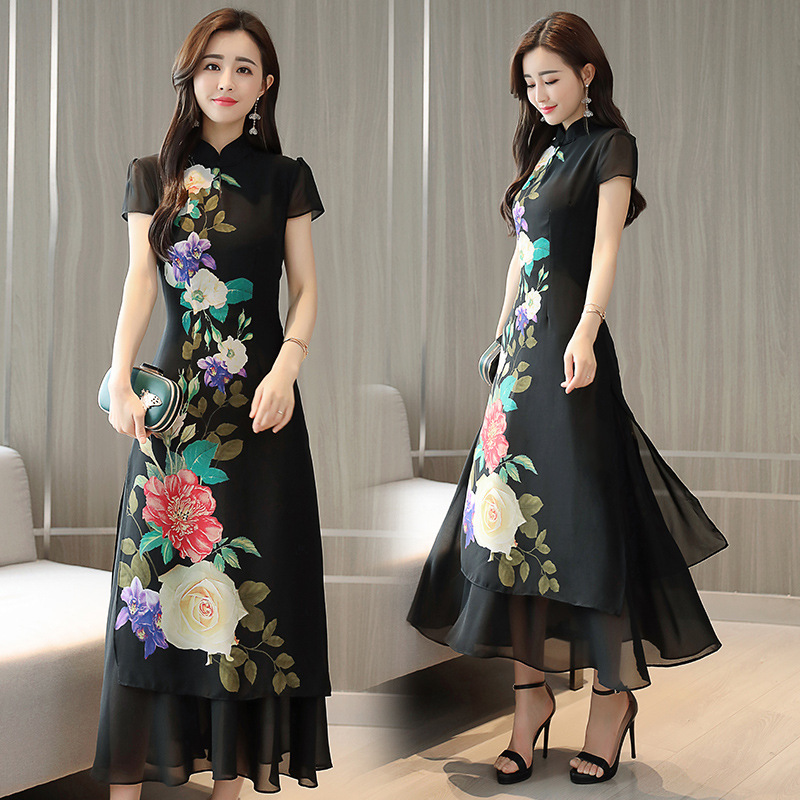 Dresses Summer 2019 Black Chinese Oriental Dresses Cheongsam Qipao Floral Japanese Fashion Kimonos Ao Dai Vietnam Dress AA4456