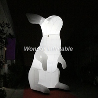 High quality glow at night LED white giant inflatable easter bunny easter rabbit for festival decoration