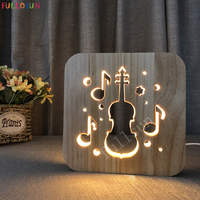 Night Lights Wooden Cello 3D Lamp USB Lights Decorative Lamps for Living Room