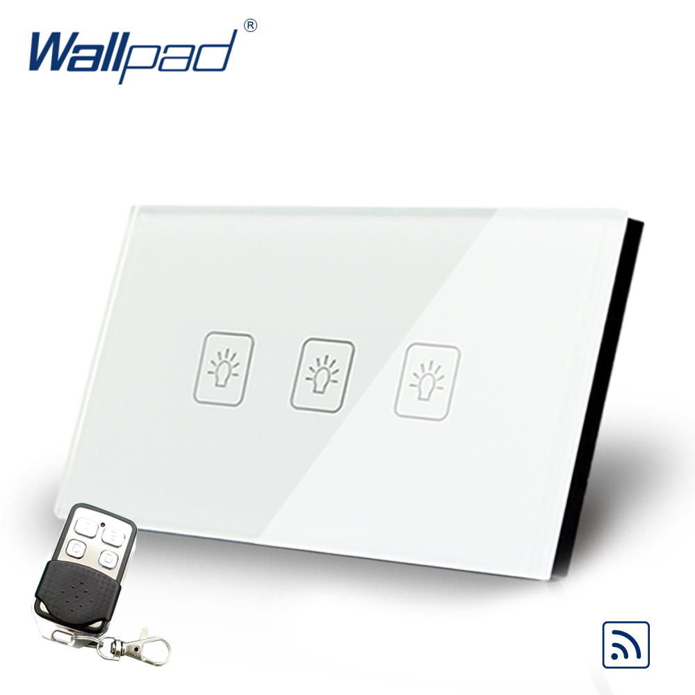 Wallpad US 3 Gang 2 Way 3 Way Intermediate Remote Control Touch Switch Crystal Glass Switch With Remote Controller gold 3 gang 2 way remote light switch wallpad us au crystal glass screen 3 gang intermediate remote switch led touch switch