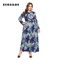 Big size 6XL 2018 Fat MM women dress autumn long sleeve printed loose long dress black red blue colors fashion dress vestido
