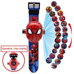 Человек-паук Железный дети часы Дети 3D проекция мультфильм шаблон обувь для девочек часы ребенок обувь для мальчиков цифровые наручные