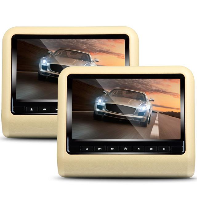 1 Par de Clip-on Polegadas Tela Digital Encosto de Cabeça Do Carro DVD Player de rádio Do Carro jogador Construído em IR, Função de Transmissor FM Jogo Livre